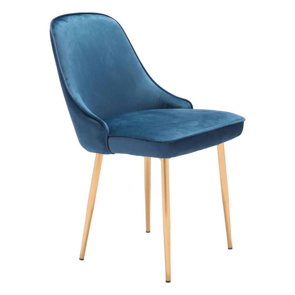 Navy Velvet Anneau Dining Chair: ZUO Merritt Navy Velvet Dining Chair-101079