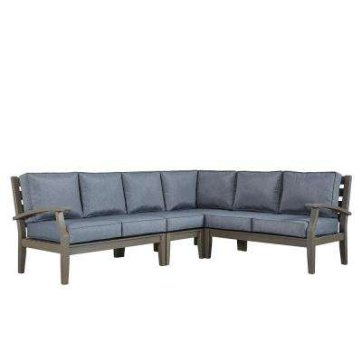 Verdon Gorge Gray 3-Piece Oiled Wood Outdoor Sofa with Gray Cushions