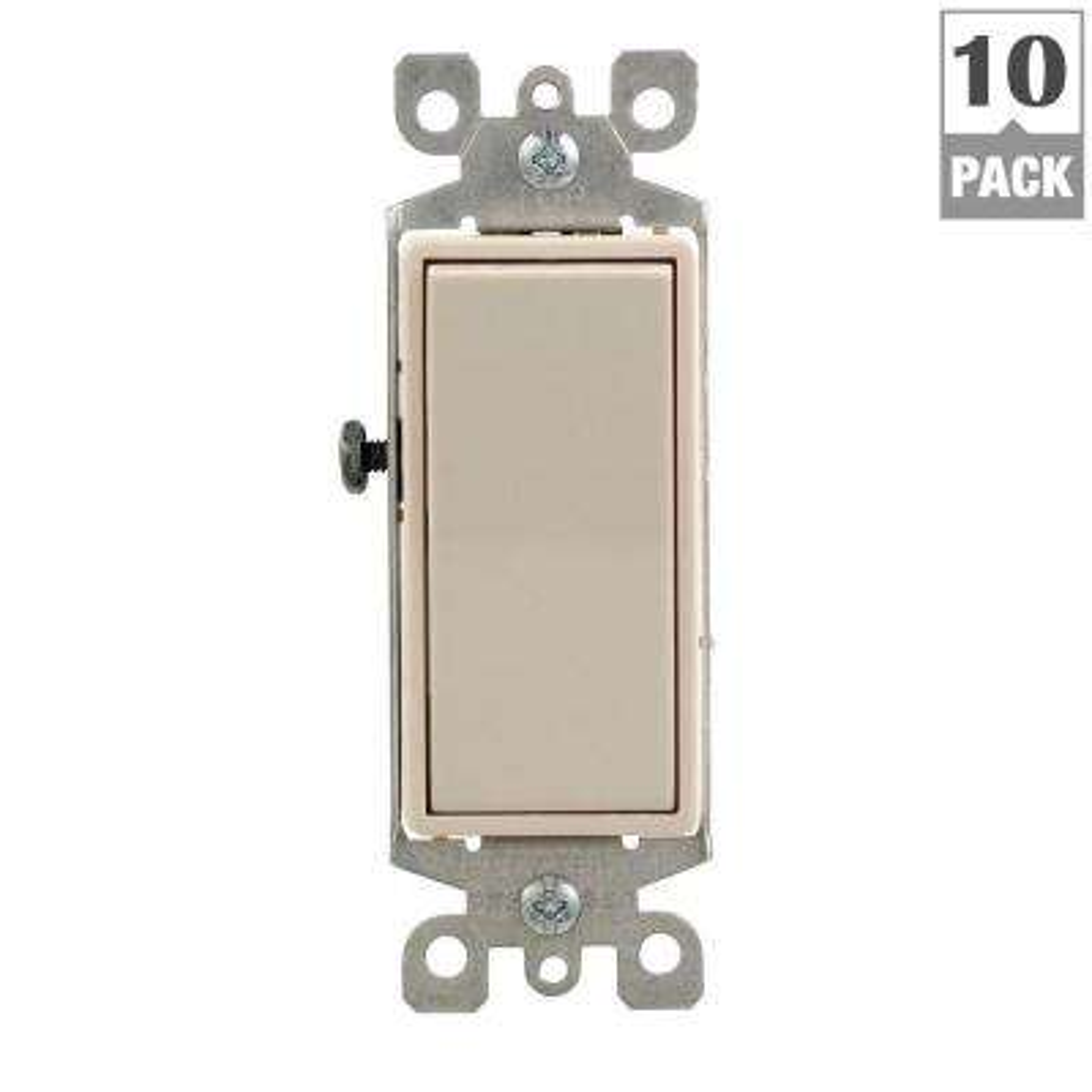 Decora 15 Amp 3-Way Switch, Light Almond (10-Pack)