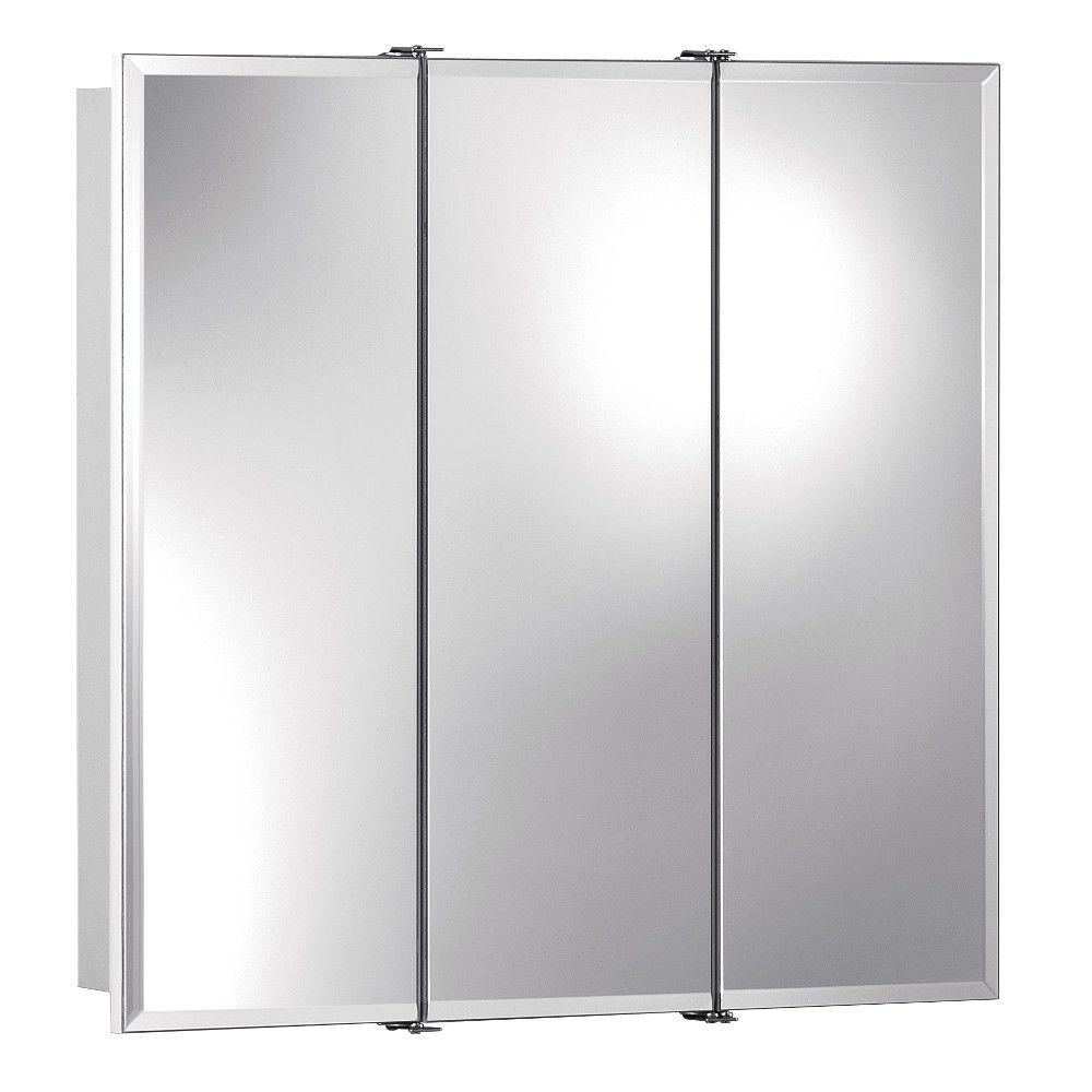 Frameless Surface-Mount Bathroom Medicine Cabinet with Beveled Mirror