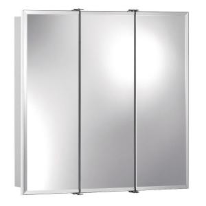 Ashland 24 inch W x 24 inch H x 4-3/4 inch D Frameless Surface-Mount Bathroom Medicine Cabinet with Beveled Mirror by
