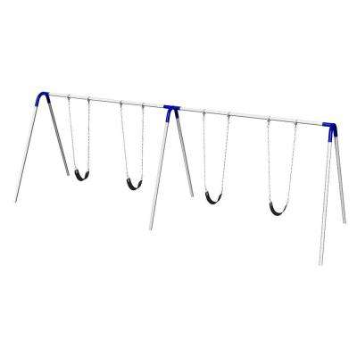 Playground Double Bay Commercial Bipod Swing Set with Strap Seats and Blue Yokes
