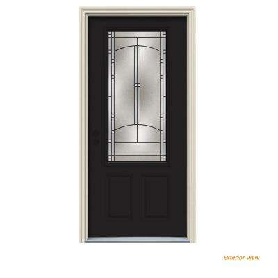 34 in. x 80 in. 3/4 Lite Idlewild Black Painted Steel Prehung Right-Hand Inswing Front Door w/Brickmould