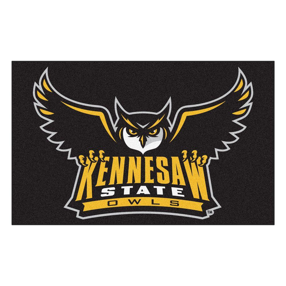 FANMATS NCAA Kennesaw State University Black 5 ft. x 8 ft. Area Rug