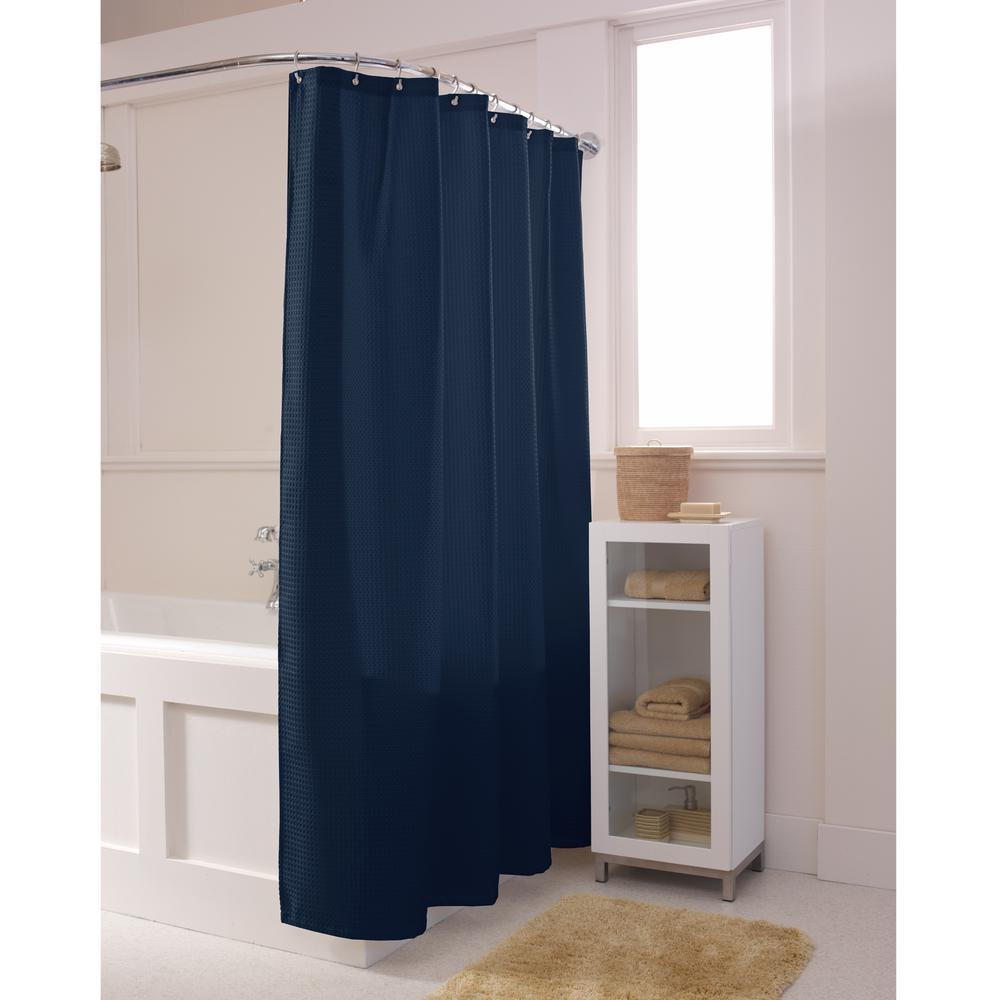 Textured Waffle Fabric Navy Shower Curtain