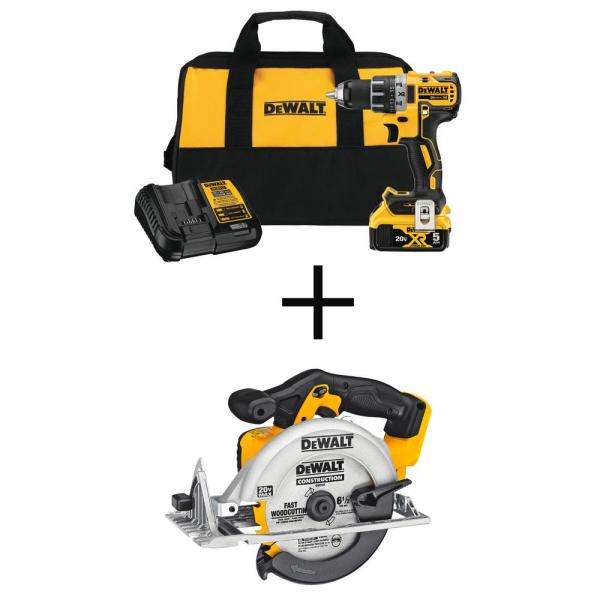 20-Volt MAX XR Lithium-Ion Brushless Cordless 1/2 in. Drill/Driver with 20-V Cordless 6-1/2 in. Circular Saw (Tool-Only)