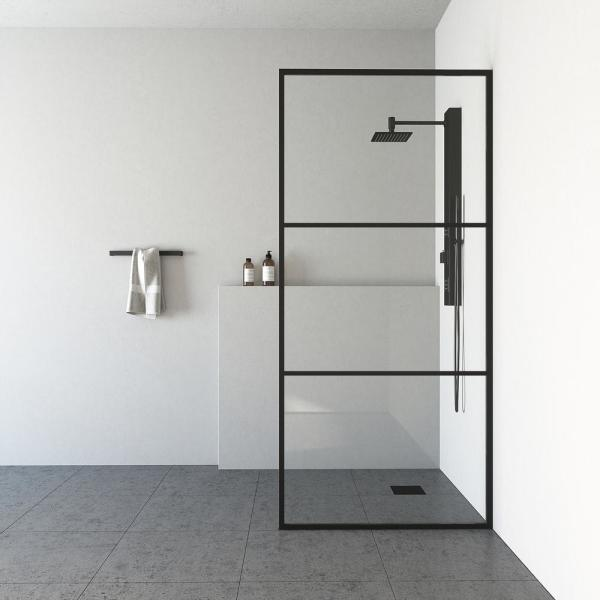 Divide 34 in. x 74 in. Framed Fixed Shower Door in Matte Black without Handle