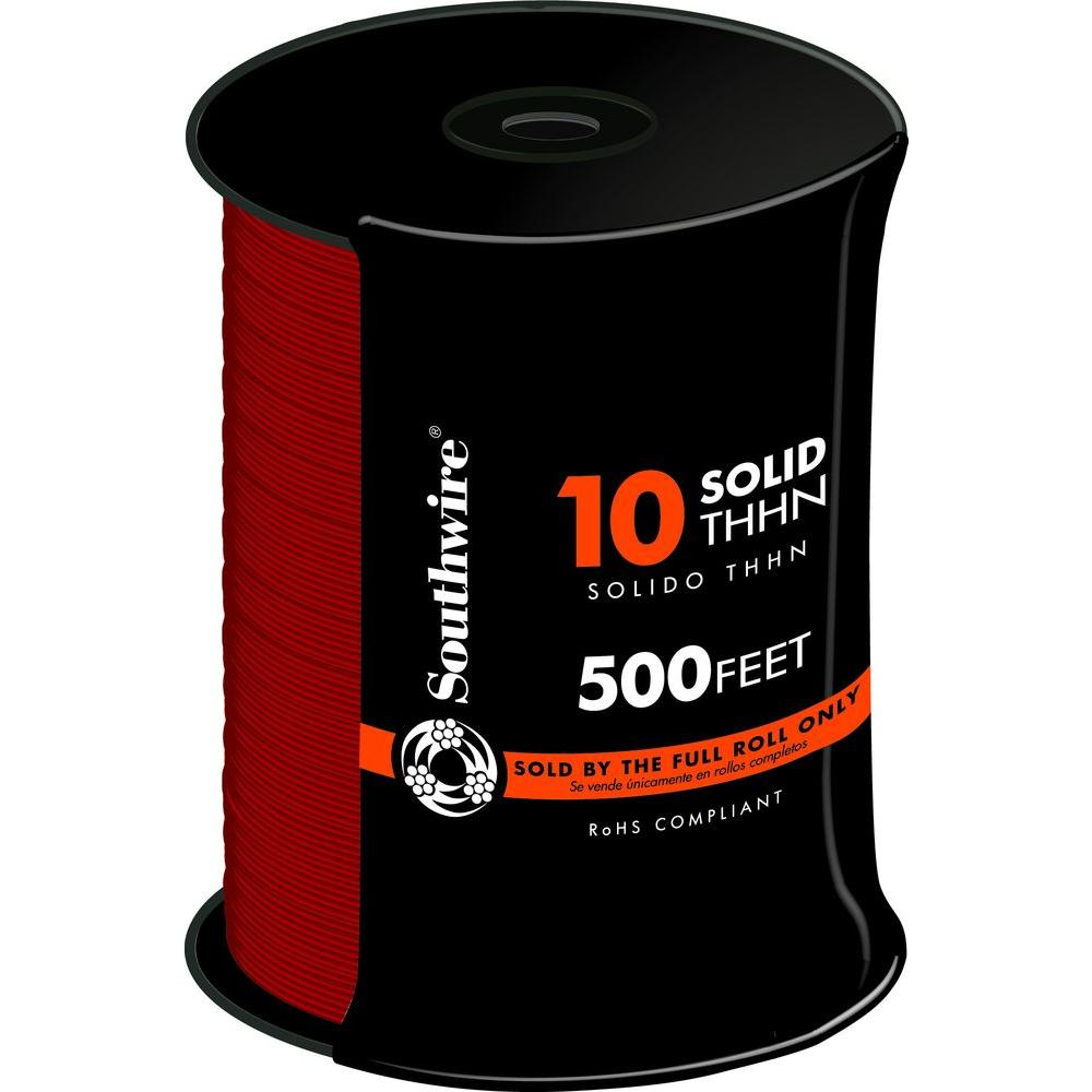 Southwire 500 ft. 10 Red Solid CU THHN Wire