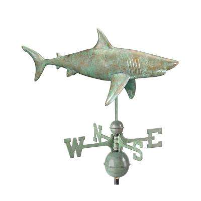 Shark Weathervane - Blue Verde Copper