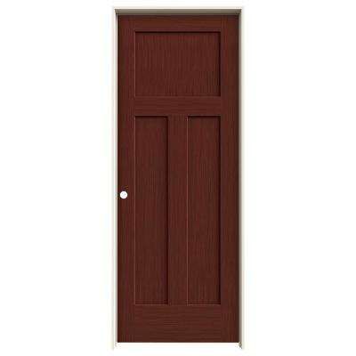 30 in. x 80 in. Craftsman Black Cherry Stain Right-Hand Solid Core Molded Composite MDF Single Prehung Interior Door
