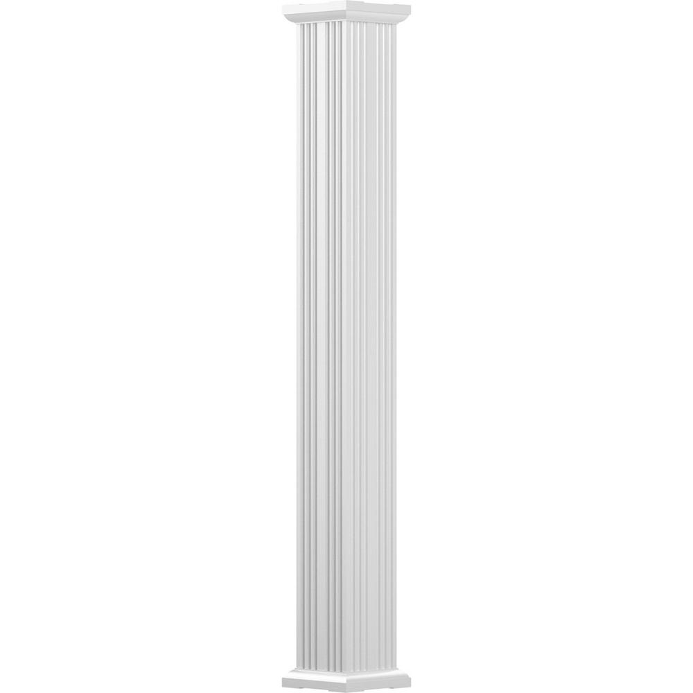 3-1/2 in. x 8 ft. Gloss White Non-Tapered Fluted Square Shaft