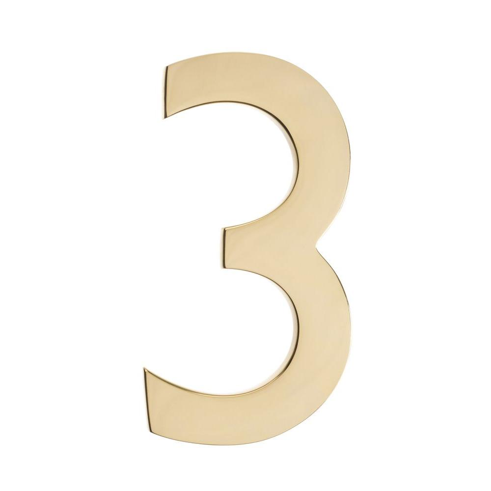 "House Numbers   Solid Polished Brass 5/""  with Mounting Screws"