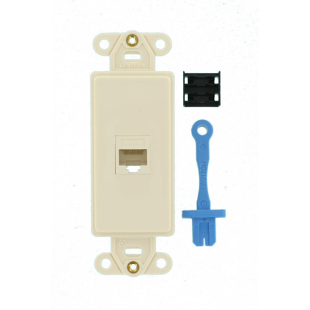 Decora Cat5e Data Insert Outlet, Light Almond