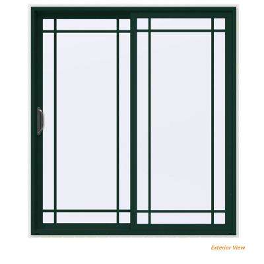 72 in. x 80 in. V-4500 Contemporary Green Painted Vinyl Left-Hand 9 Lite Sliding Patio Door w/White Interior