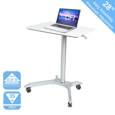 AIRLIFT White XL 28 in Sit-Stand Mobile Desk With Adjustable Height Range 27.1 in to 41.9 in