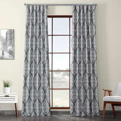 Cameo Gray Printed Linen Textured Blackout Curtain - 50 in. W x 120 in. L (1-Panel)