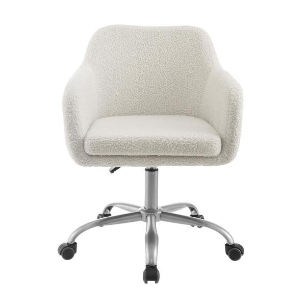 Linon Home Decor Barnes Cream Sherpa Upholstered 17 In 21 In Adjustable Height Office Chair Thd02669 The Home Depot