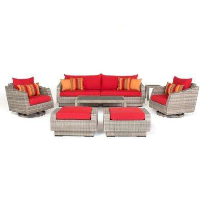 Cannes 8-Piece All-Weather Wicker Patio Deluxe Sofa and Club Chair Conversation Set with Sunset Red Cushions