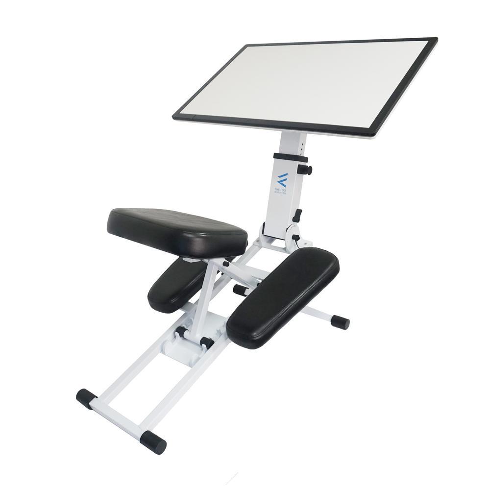 The Edge Desk Ergonomic White Portable Adjustable Kneeling Desk