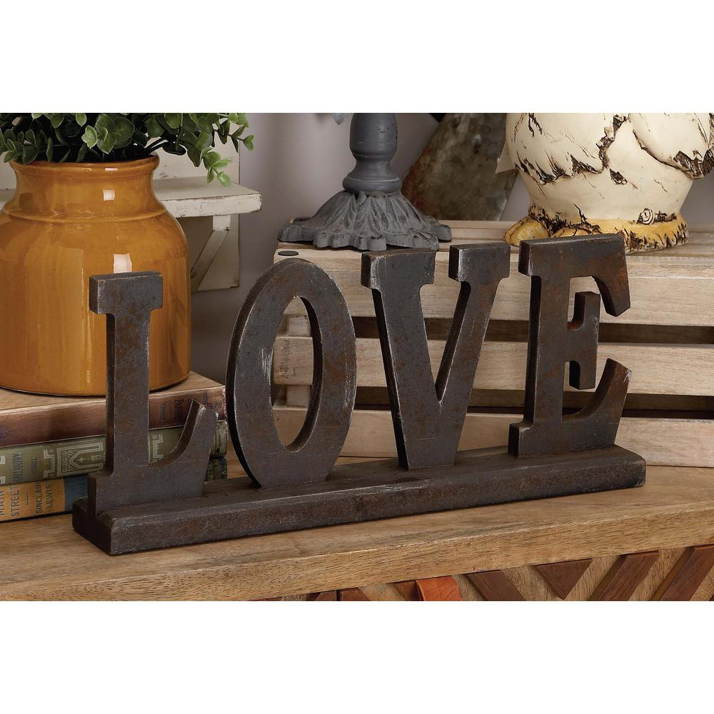 "18 in. x 8 in. Home and Hearth ""LOVE"" Wooden Tabletop"