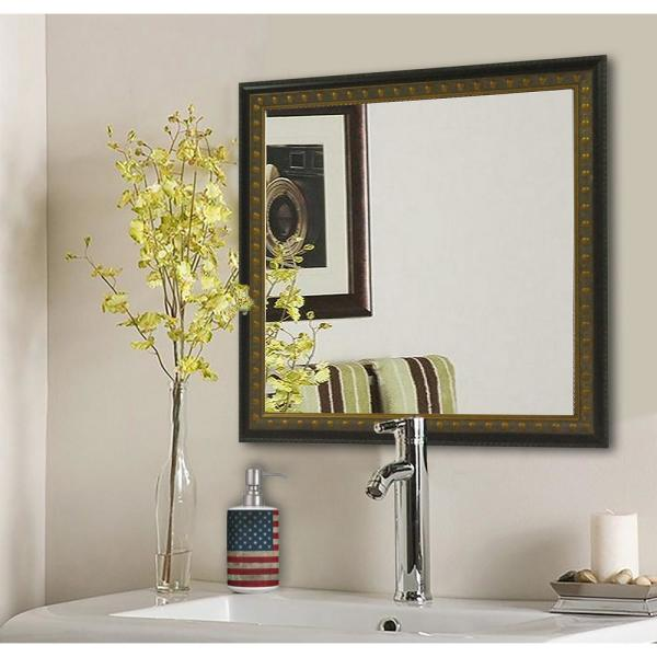 27.5 in. x 27.5 in. Traditional Cameo Bronze Square Vanity Wall Mirror