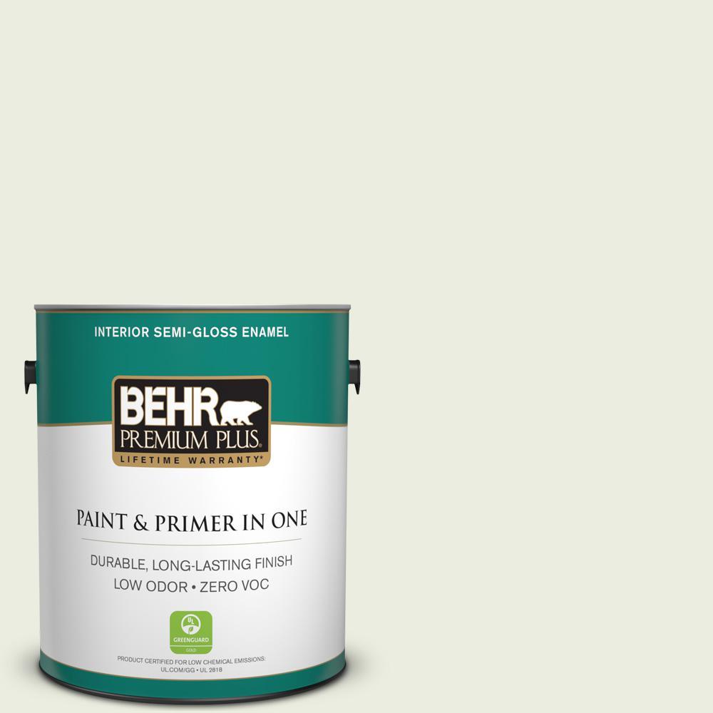 1-gal. #420E-1 Hemlock Bud Zero VOC Semi-Gloss Enamel Interior Paint