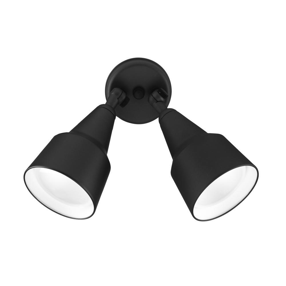Double Cone 150-Watt 2-Light Black Outdoor Wall Lantern Sconce