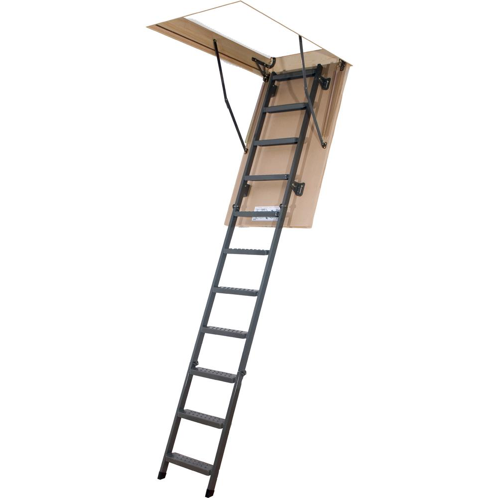 Fakro Lms 8 Ft 11 In 22 In X 47 In Insulated Steel Attic Ladder With 350 Lb Load Capacity Type Ia Duty Rating 66865 The Home Depot