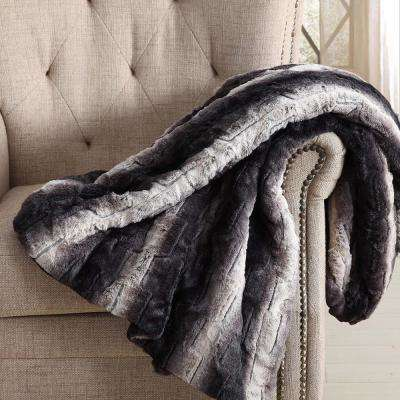 60 in. x 70 in. Black Ombre Luxury Faux Fur Filled Throw with Gift Box