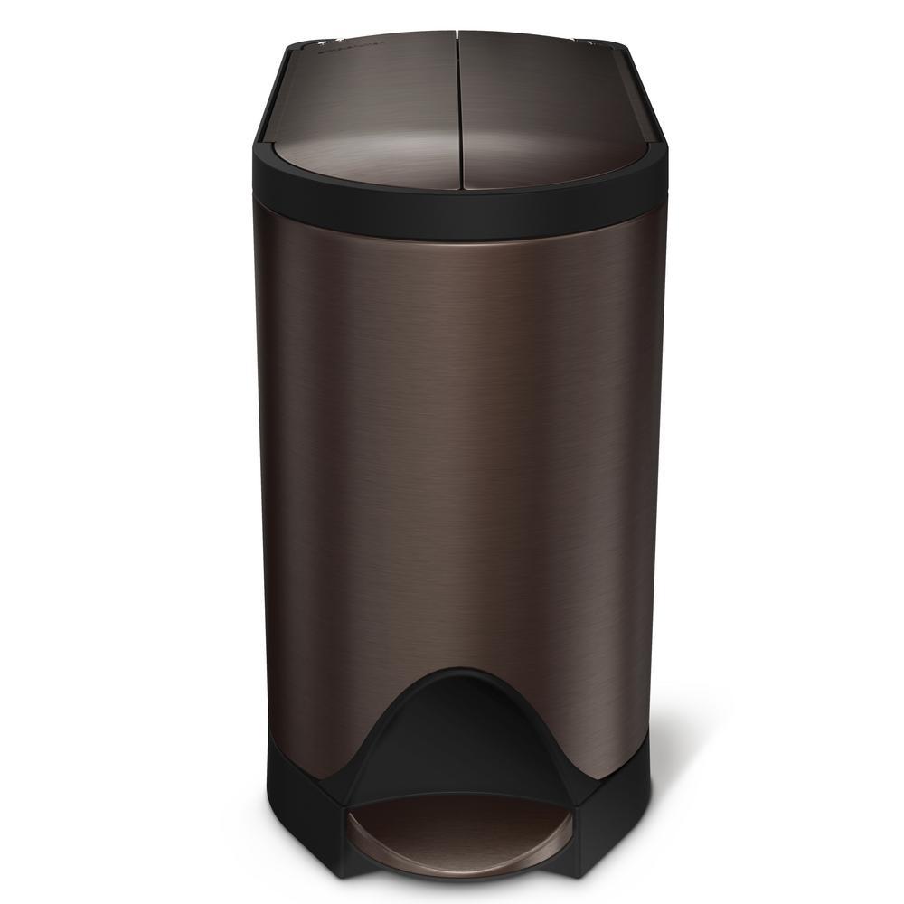 6L 1.59 Gal Semi‐round step trash can simplehuman Rose Gold Steel