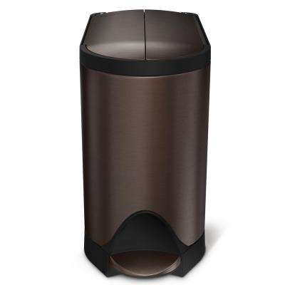 10-Liter Dark Bronze Stainless Steel Butterfly Step-On Trash Can
