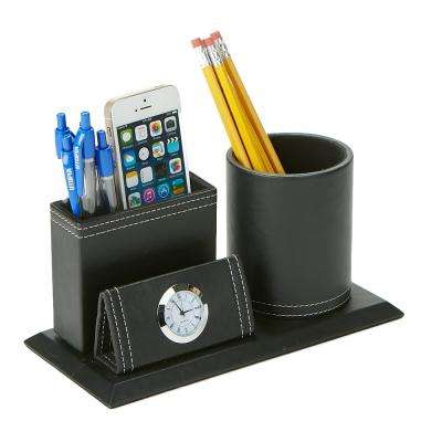 Travel Utensil Holder Storage Compartment with Clock in Black
