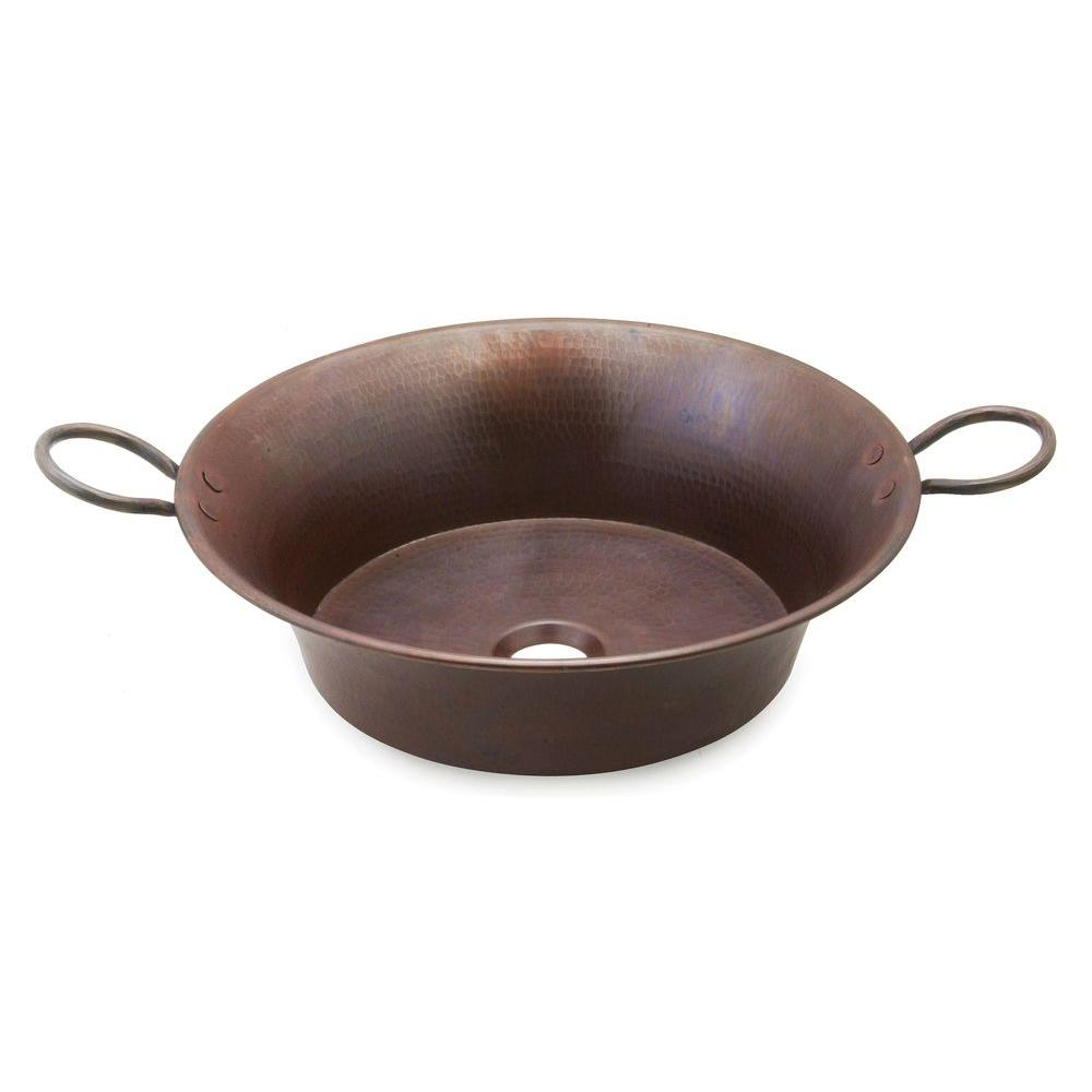 SINKOLOGY Copernicus 21 in. Vessel Sink Handmade Pure Solid Copper in Aged Copper