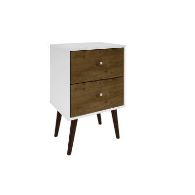 Liberty Mid Century White and Rustic Brown Modern Nightstand 2.0 with 2-Full Extension Drawers with Solid Wood Legs