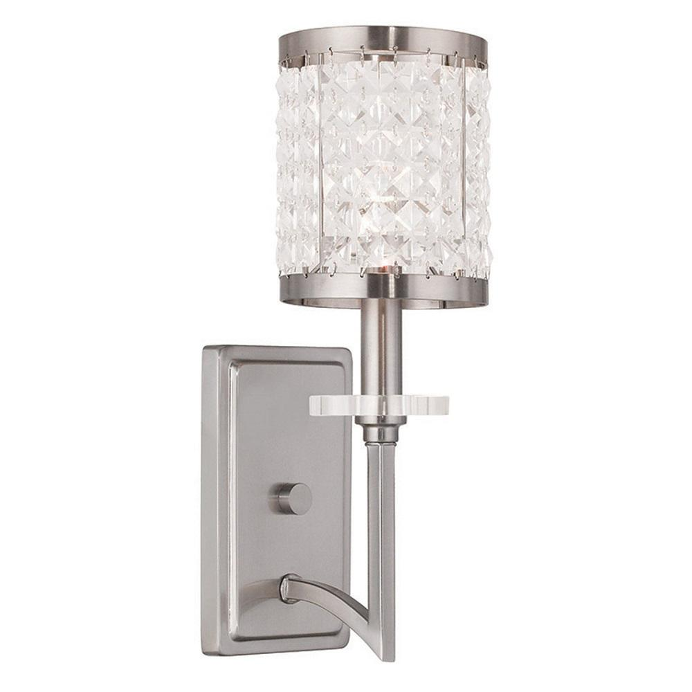 Livex Lighting Providence 1 Light Brushed Nickel Incandescent Wall Sconce 4278 91 The Home Depot