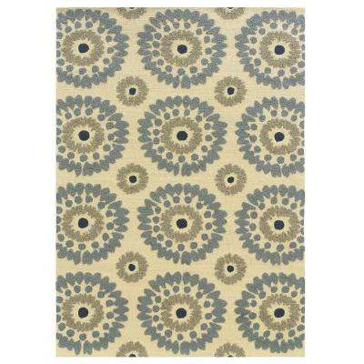 Le Soliel Collection Ivory and Blue 1 ft. 10 in. x 2 ft. 10 in. Outdoor Area Rug