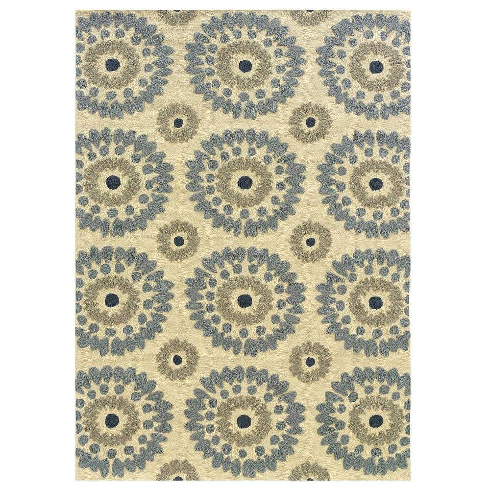 Le Soliel Collection Ivory and Blue 5 ft. x 7 ft.