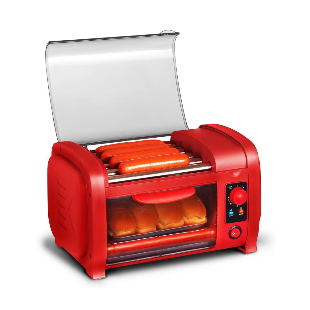 Elite Red Hot Dog Roller and Toaster Oven