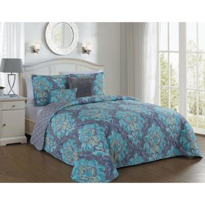 Forte 5-Piece Teal Queen Quilt Set