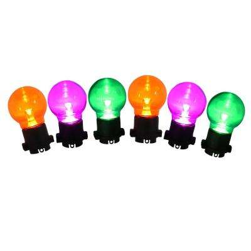 25-Light LED Orange, Purple and Green Ultra Bright G45 Transparent Light Set