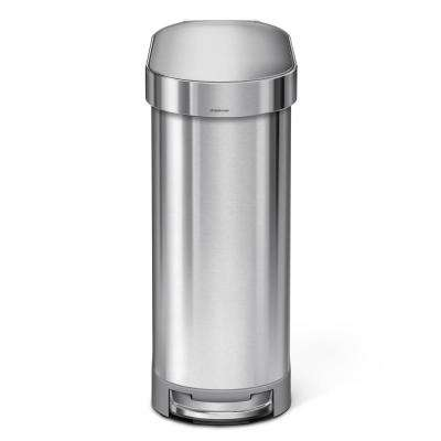 45-Liter Fingerprint-Proof Brushed Stainless Steel Slim Step-On Trash Can