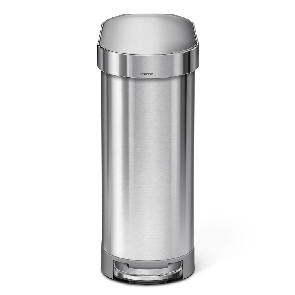 simplehuman simplehuman 45-Liter Fingerprint-Proof Brushed Stainless Steel Slim Step-On Trash Can, Silver metallic