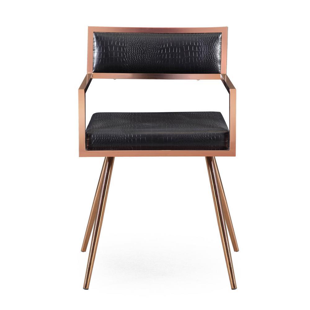 Marquee Black Croc Arm Chair (Set of 2)