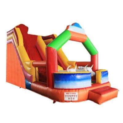 Inflatable Bull Bounce House with Wet Dry Slide and Blower