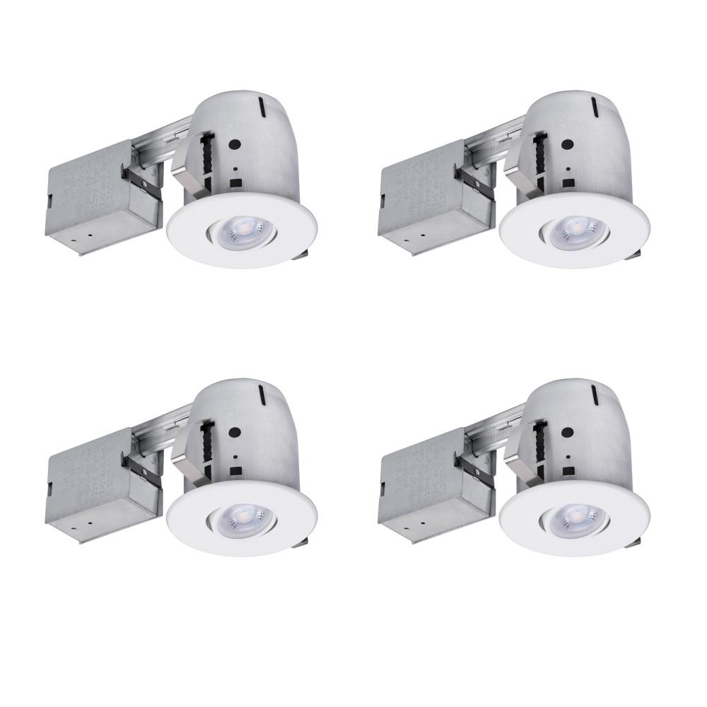 Bathroom Recessed Lighting Kit: Globe Electric 4 In. White IC Rated Dimmable Round