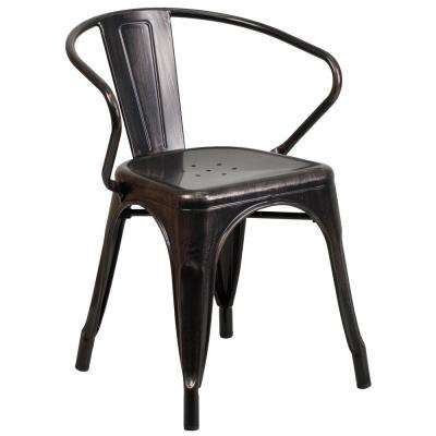 Metal Outdoor Dining Chair in Black-Antique Gold