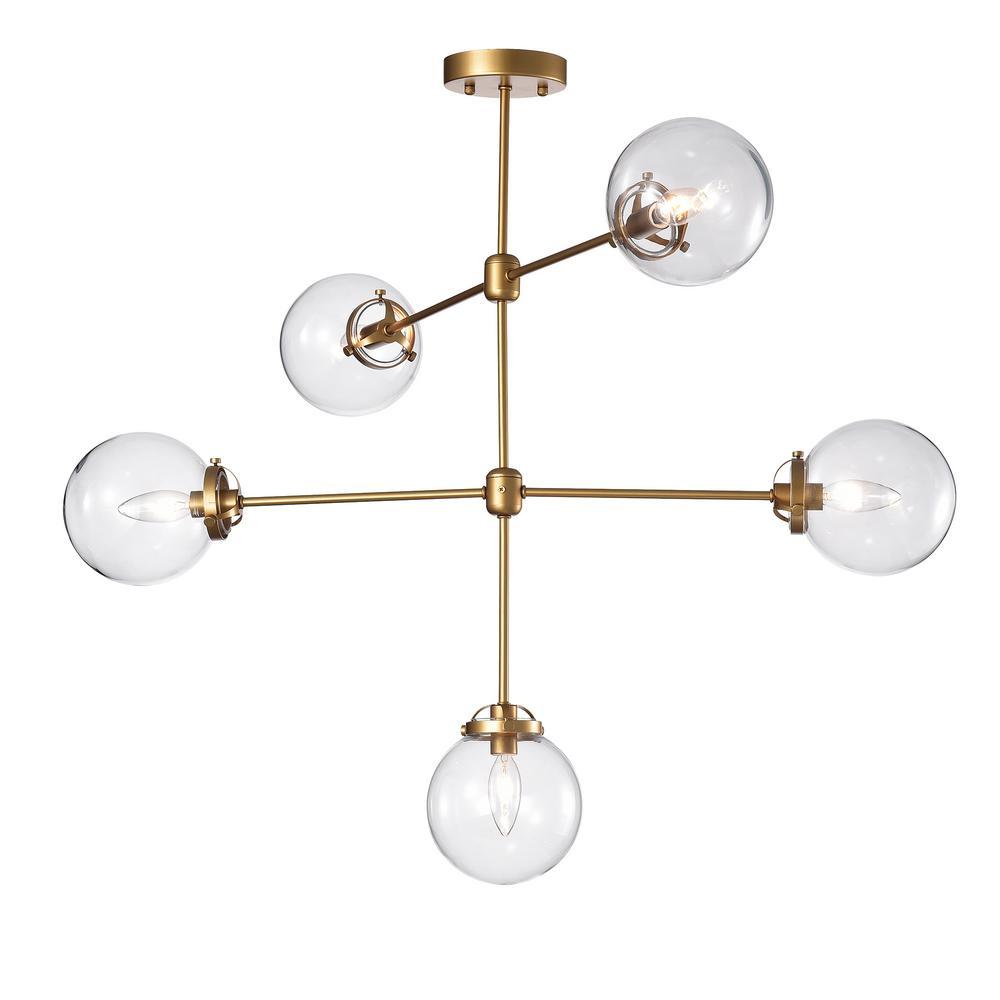 Sarret 33 in. 5-Light Gold Indoor Chandelier