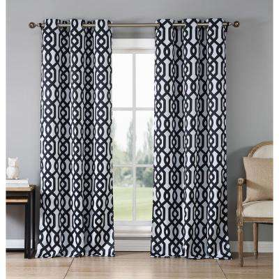 Ashmont 38 in. x 84 in. L Polyester Blackout Curtain Panel in Black (2-Pack)