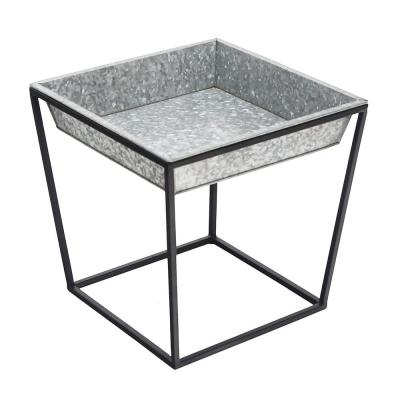 14 in. Tall Black Powder Coat Steel Small Indoor/Outdoor Arne Plant Stand with Galvanized Tray