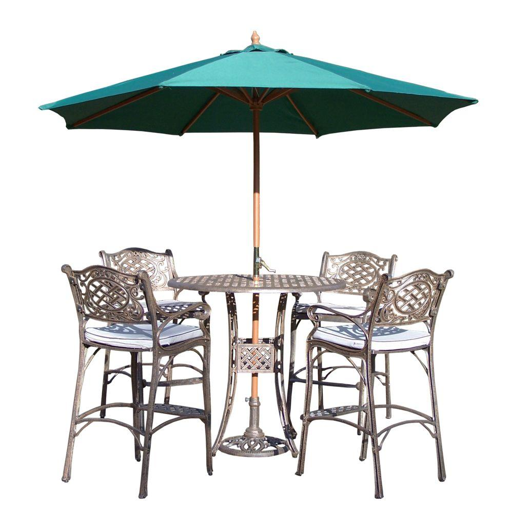 Elite Cast Aluminum 7-Piece Round Patio Bar Height Dining Set with